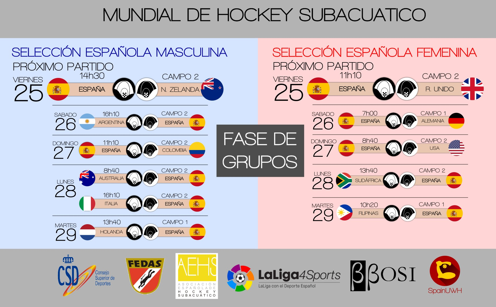 Calendario Mundial Hockey Subacuatico